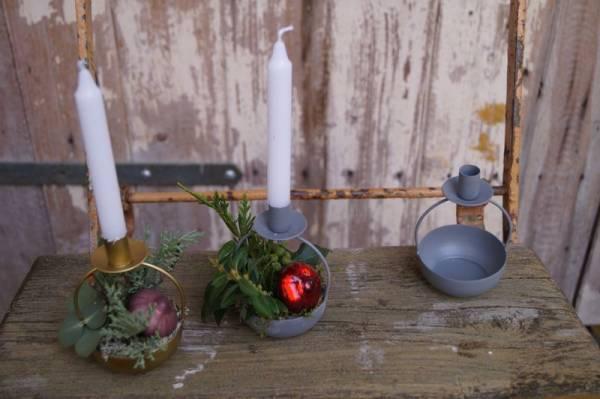 Kerzenhalter mit Schale für Baumkerze (Messing oder Zink)