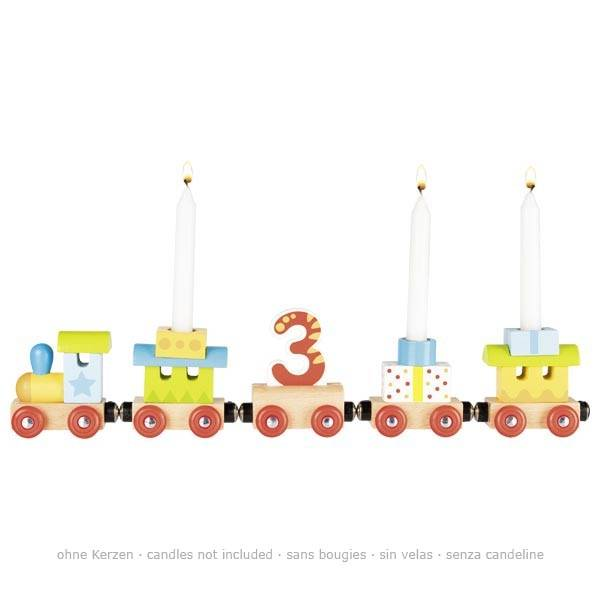 GOKI Geburtstagszug, Lok mit 4 Anhängern mit Magnetverbindung