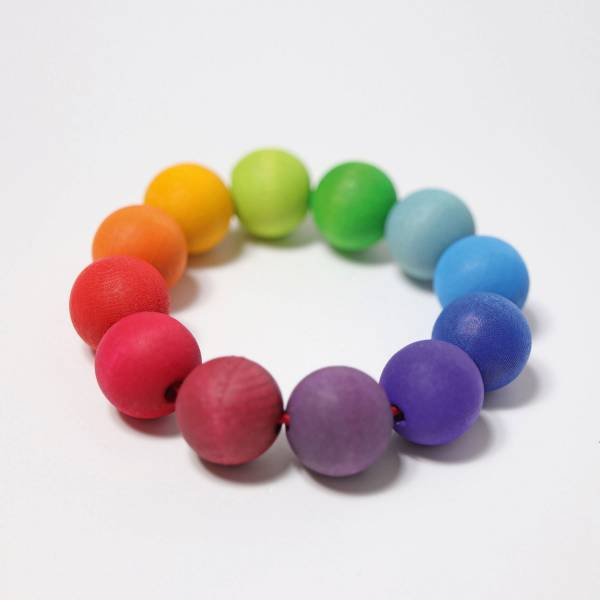 GRIMMS Regenbogen Perlenring, Greifling / Beißring aus Holz