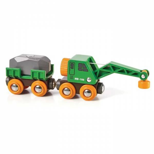 BRIO Grüner Kranwagen mit Anhänger und Fracht