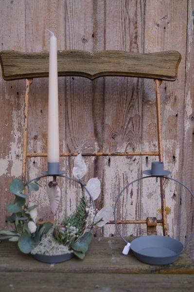 Kerzenhalter mit Schale für Stabkerze (Metall)