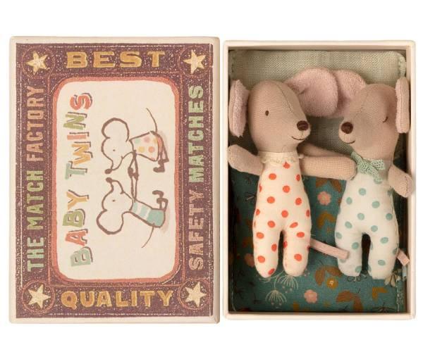 MAILEG Baby-Mäuse (Zwillinge) in Streichholzschachtel