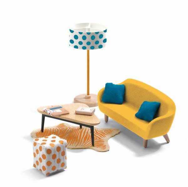 DJECO Puppenhaus: Wohnzimmer (orange)