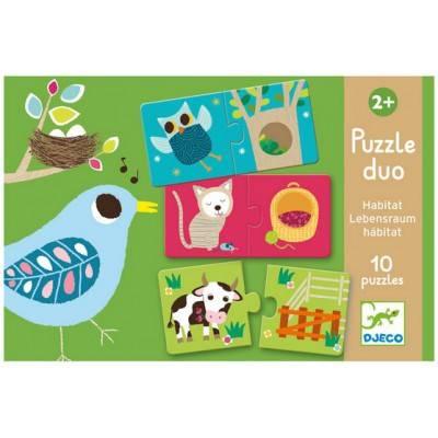 DJECO Lernspiele - Puzzle duo/trio: Habitat