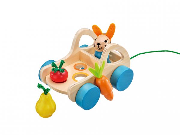 SELECTA Verdurino, Obst und Gemüsewagen, Nachzieh- und Sortierspielzeug