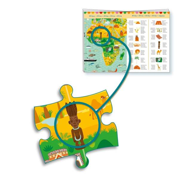 DJECO Wimmelpuzzle: Weltreise + Booklet (200 Teile)