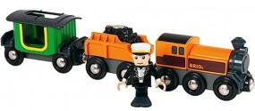Dampflok mit Tender und Reisewagen
