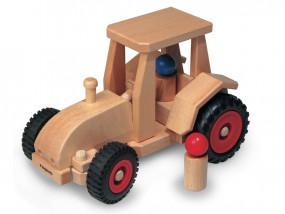 Traktor aus Holz, lenkbar (26 cm)